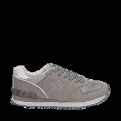 Sneakers grigie in microfibra , Scarpe, 132619078MFGRIG036, 001a