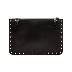 Clutch nera in ecopelle con profilo mini-borchie, Primadonna, 123308330EPNEROUNI, 002 preview