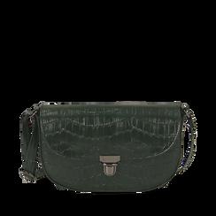 Borsa piccola verde in eco-pelle stampa cocco, Primadonna, 146600202CCVERDUNI, 001a
