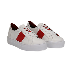 Sneakers bianco/rosse in pelle, Primadonna, 137720413PEBIRO035, 002a