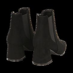 Ankle boots neri in microfibra, tacco trapezio 6 cm , Stivaletti, 142707127MFNERO035, 004 preview