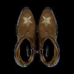 Stivaletti Camperos taupe in vero camoscio con ricamo stelle, tacco 4 cm, Primadonna, 125608094CMTAUP036, 004 preview