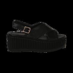 Sandali platform neri in eco-pelle, zeppa 7 cm , Primadonna, 132147651EPNERO035, 001 preview