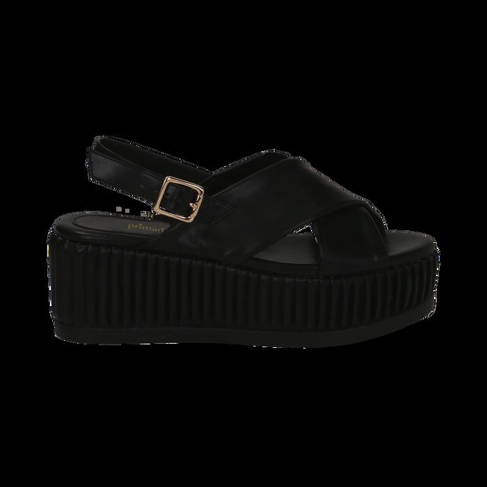 Sandali platform neri in eco-pelle, zeppa 7 cm , Primadonna, 132147651EPNERO035