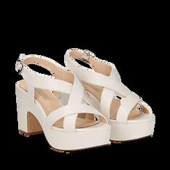 Sandali con plateau bianchi in eco-pelle, tacco 9 cm , Sandali con tacco, 138402258EPBIAN037, 002a