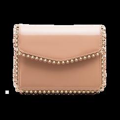 Pochette con tracolla rosa nude in ecopelle vernice, profili mini-borchie, Borse, 123308852VENUDEUNI, 001 preview
