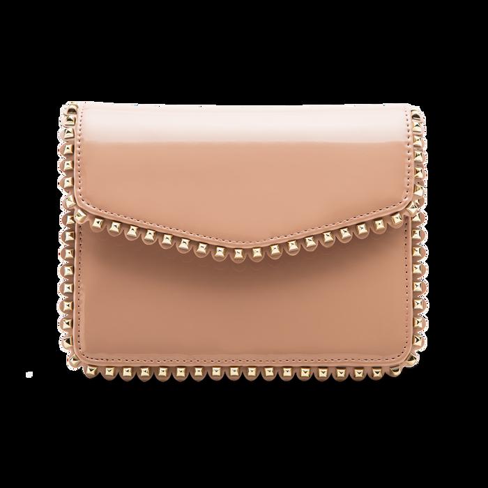 Pochette con tracolla rosa nude in ecopelle vernice, profili mini-borchie, Borse, 123308852VENUDEUNI
