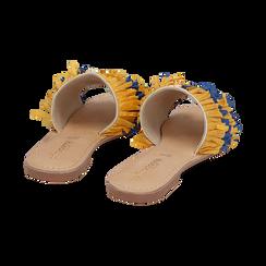 Ciabatte giallo/turchesi in rafia, Scarpe, 15K904447RFGITU, 004 preview
