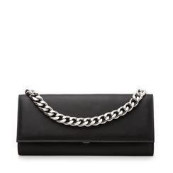Pochette nera in eco-pelle con maxi-catena, Borse, 133322173EPNEROUNI, 001a