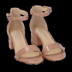 Sandalias en eco-piel con estampados de serpiente color nude, tacón 5,50 cm, 152707031PTNUDE035, 002a