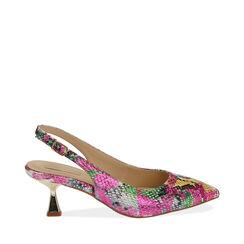 Slingback multicolor stampa pitone, tacco 6 cm ,  Zapatos, 174954431PTMULT035, 001a