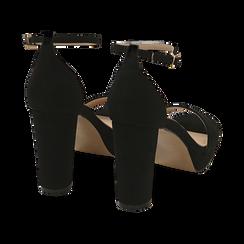 Sandalias en microfibra color negro, tacón 9,5 cm  , OPORTUNIDADES, 152185825MFNERO040, 004 preview