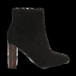 Ankle boots neri in microfibra, tacco tartarugato 9,5 cm , Primadonna, 142166057MFNERO039, 001a