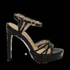 Sandali neri in vernice con plateau, tacco stiletto 13 cm, Sandali con tacco, 132182183VENERO040, 001a