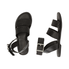 Sandali neri in pelle intrecciata, Scarpe, 156707446PINERO036, 003 preview