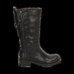 Biker boots con zip neri in eco-pelle, tacco 4,5 cm , 140585013EPNERO035, 001a