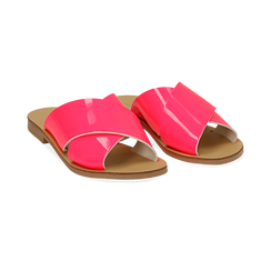 Mules flat fucsia in vernice fluo, Saldi Estivi, 136767002VEFUCS036, 002 preview