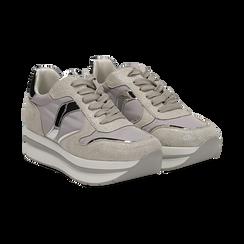 Sneakers grigie in microfibra con maxi-suola platform, Scarpe, 132899261MFGRIG036, 002 preview
