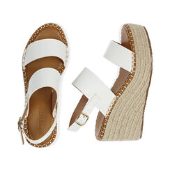Sandali bianchi, zeppa 9 cm , Primadonna, 174906067EPBIAN035, 003 preview