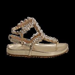Sandali infradito gioiello oro in eco-pelle laminata, Primadonna, 154951992LMOROG036, 001 preview