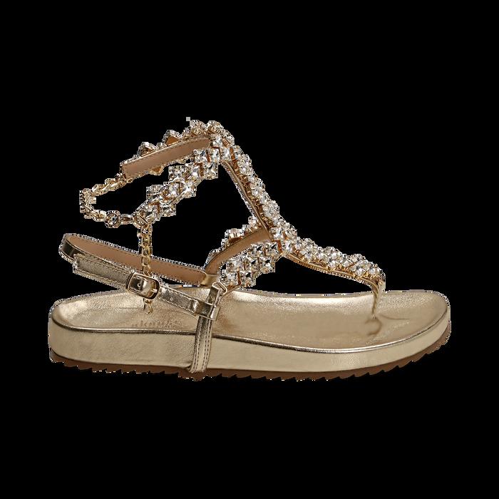 Sandali infradito gioiello oro in eco-pelle laminata, Primadonna, 154951992LMOROG036
