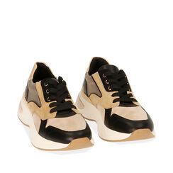 Sneakers camel in microfibra, zeppa 5 cm , Primadonna, 182812425MFCAME035, 002a
