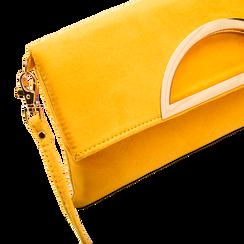 Pochette gialla in microfibra scamosciata, Saldi Borse, 123308714MFGIALUNI, 003 preview
