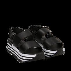 Sandali platform neri in eco-pelle, Scarpe, 136700207EPNERO036, 002a