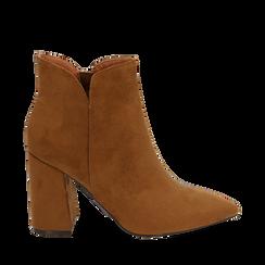 Ankle boots cuoio in microfibra, tacco 9 cm , Primadonna, 162709165MFCUOI035, 001a