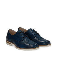 Stringate blu in eco-pelle con lavorazione Duilio, Scarpe, 130609561EPBLUE036, 002a