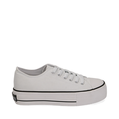 Sneakers de tela en color blanco, 152619385CABIAN035, 001a