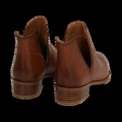 Bottines en cuir camel, talon de 3 cm, Chaussures, 159407601PECUOI037, 004 preview