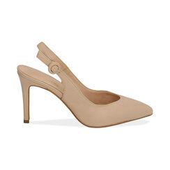 Slingback beige de piel, tacón 9 cm, Zapatos, 15D601002VIBEIG037, 001 preview