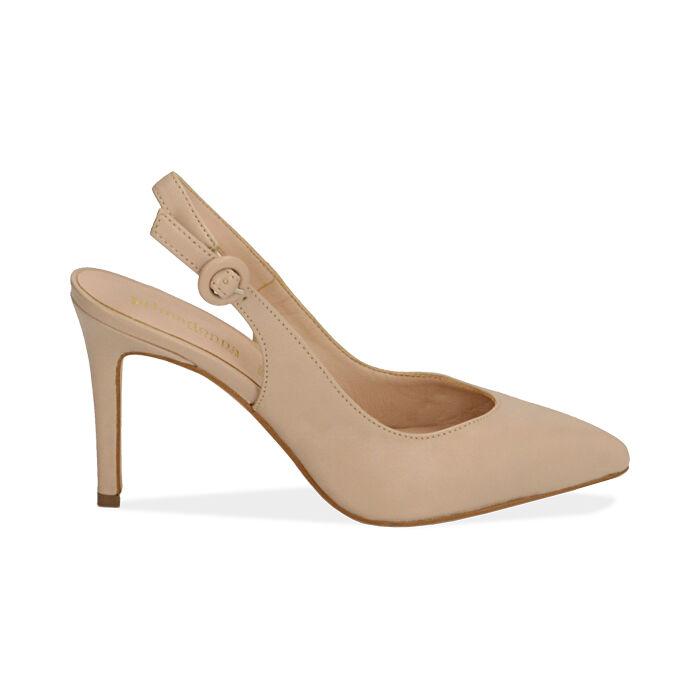 Slingback beige de piel, tacón 9 cm, Zapatos, 15D601002VIBEIG037