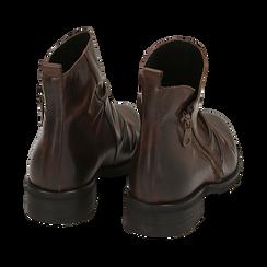 Biker boots marroni in pelle di vitello drappeggiata, Stivaletti, 14A919608VICUOI035, 004 preview