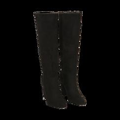 Stivali neri in microfibra, tacco 9,50 cm , Primadonna, 163026501MFNERO035, 002 preview