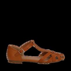 Sandali flat cuoio in eco-pelle con tomaia traforata, Scarpe, 134990781EPCUOI035, 001a