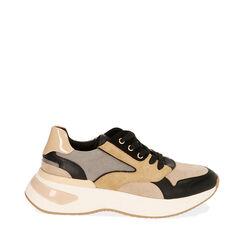 Sneakers camel in microfibra, zeppa 5 cm , Primadonna, 182812425MFCAME035, 001a