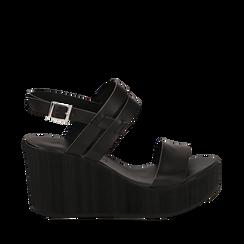 Sandali platform neri in eco-pelle, zeppa 8 cm , Primadonna, 13C700259EPNERO036, 001a