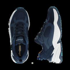 Dad shoes blu in microfibra, zeppa 4,50 cm, Sneakers, 142619462MFBLUE036, 003 preview