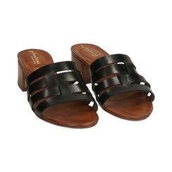 Sandali neri in pelle di vacchetta, tacco 4,5 cm , Primadonna, 177248215VANERO036, 002 preview