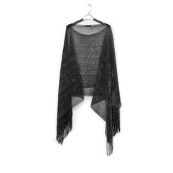 Poncho nero in tessuto laminato , Abbigliamento, 13B445057LMNEROUNI, 001a