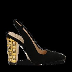 Décolleté Slingback nere in microfibra con cinturino alla caviglia, tacco gioiello 12 cm, Scarpe, 132118672MFNERO035, 001a