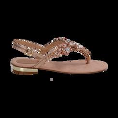Sandali gioiello infradito nude in microfibra, Primadonna, 134994221MFNUDE, 001 preview