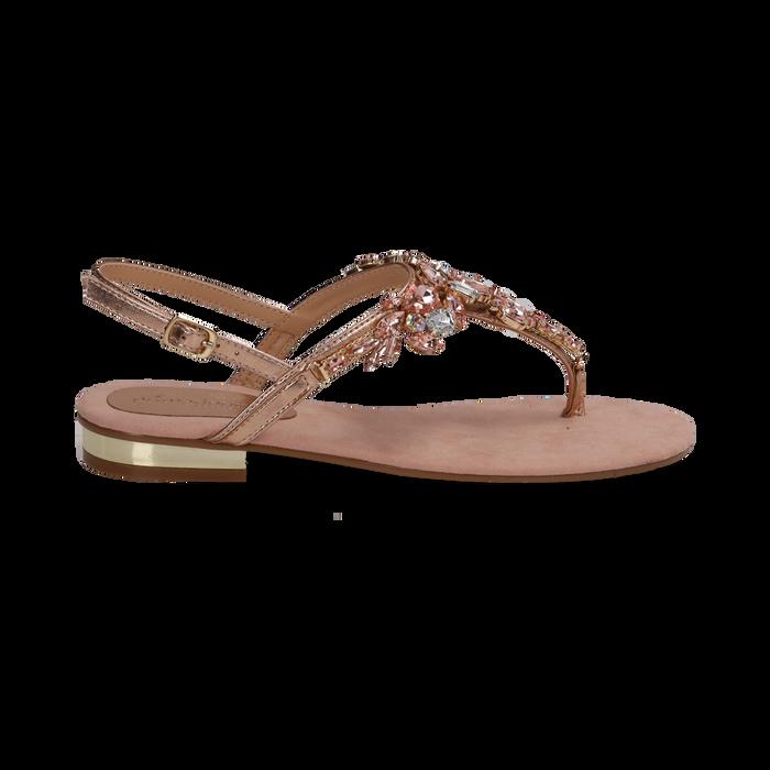 Sandali gioiello infradito nude in microfibra, Primadonna, 134994221MFNUDE