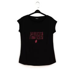 Camiseta negra de algodón con estampado, null, 15I700239TSNEROM, 003 preview