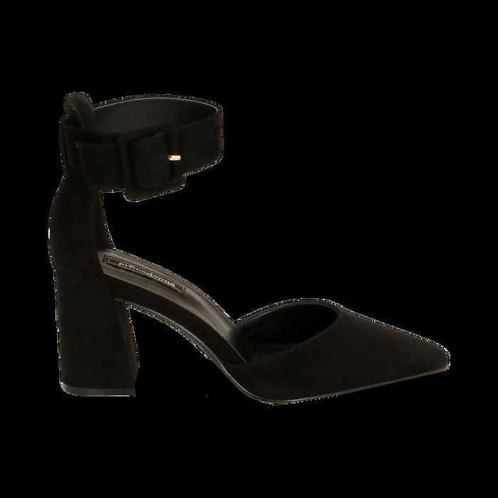 Décolleté nere in microfibra, tacco 8 cm, Primadonna, 164823062MFNERO036