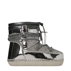Scarponcini da neve argento dettagli in vernice e glitter, Scarpe, 124106721GLARGE036, 001a