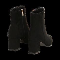 Ankle boots neri in microfibra, tacco 6 cm , Stivaletti, 144916811MFNERO037, 004 preview
