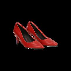 Décolleté rosse con punta affusolata, tacco medio 7,5 cm, Primadonna, 122111552EPROSS, 002 preview